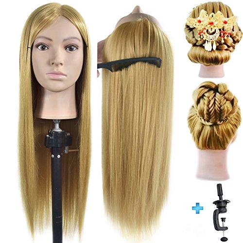 Muñeca de maniquí de 26 a 28 pulgadas, 100% fibra sintética, para entrenamiento de peluquería, cosmetología, maniquí con soporte de abrazadera de mesa