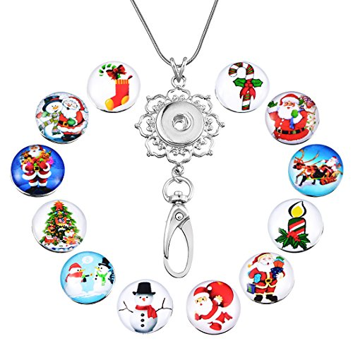 Souarts Womens Office Lanyard ID Badges Holder Necklace with 12pcs Snap Charms Jewelry Pendant Clip (Christmas)