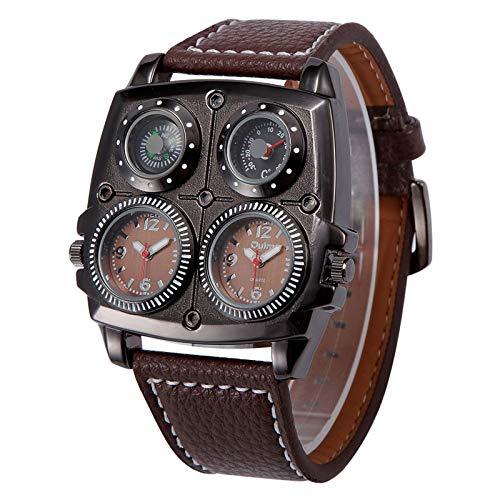 Relojes para Hombres Dual Time Zone, Reloj Militar de Cuarzo, Tres Colores para Elegir, Material de Correa PU, Smartwatch, Adecuado como Regalo de cumpleaños,Latón
