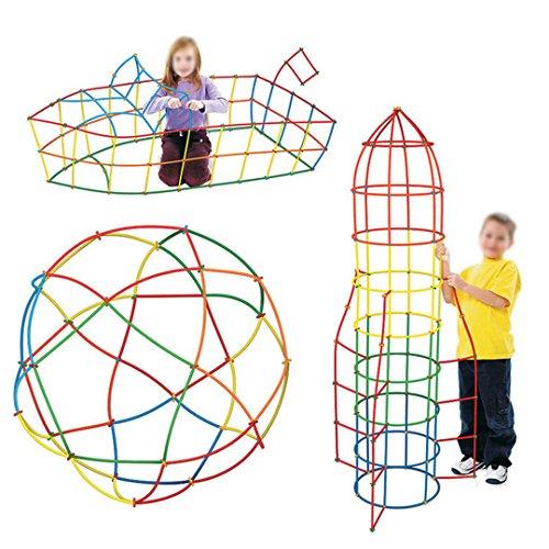 Meliya Kids 400 szt. słomka budynek zabawki zestaw 4D kosmiczne klocki klocki do budowy kije DIY montaż zabawki edukacyjne prezent