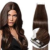 Tape in Extensions Echthaar Haarverlängerung Klebeband Haarteil 100% Remy Human Haar (20 stück+10pcs free tapes) Dunkelbraun#2 16'(40cm)