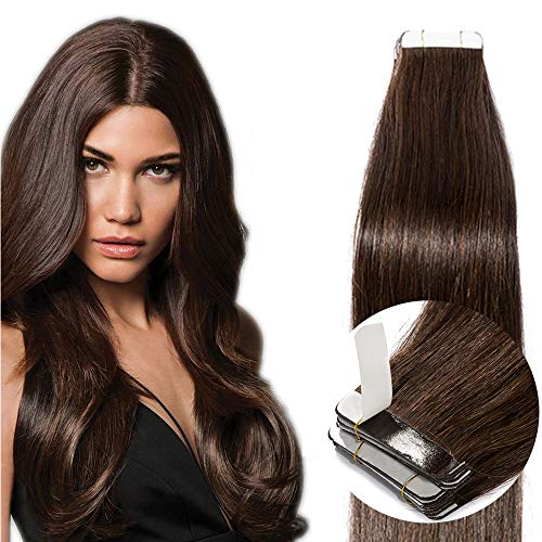 Tape in Extensions Echthaar Haarverlängerung Klebeband Haarteil 100% Remy Human Haar (20 stück+10pcs free tapes) Dunkelbraun#2 16