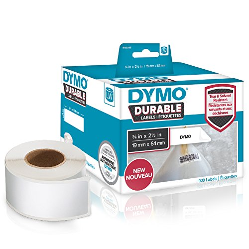 Dymo LW Hochleistungs Etiketten | 19 mm x 64 mm | weißes Polyester | Rolle mit 900 Etikettenband | für LabelWriter-Beschriftungsgerät | authentisches Produkt