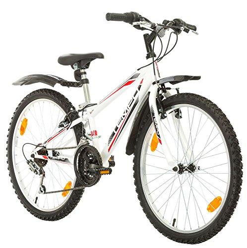 Multibrand, PROBIKE Tempo, 24 Zoll, 279mm, Mountainbike, 18 Gang, Unisex, Kotflügel Vorne + Hinten, Weiß Glänzend