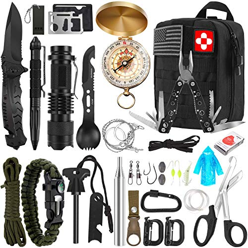 Survival Kit 32 in 1 Professional Emergency Survival Gear Equipment Tools First Aid Supplies with Molle Pouch Gifts Ideas for Men Families SOS Tactical Hiking Hunting Disaster Camping Adventures…