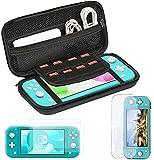 Bestico 3 in 1 Zubehörset für Nintendo Switch Lite,Tasche für Nintendo Switch Lite, Transparent Gehäuse Schutzhülle, Gehärtetem Glas Bildschirmschutzfolie2 Stück
