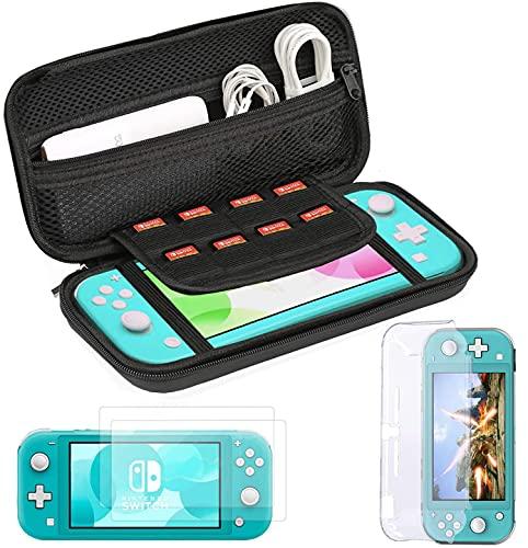 Bestico 3 in 1 Zubehörset für Nintendo Switch Lite,Tasche für Nintendo Switch Lite, Transparent Gehäuse Schutzhülle, Gehärtetem Glas Displayschutzfolie2 Stück