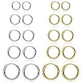6 pares Pequeña Pendientes de aro para Mujer Cinco centavos gratis Plata Oro Pendiente de acero inoxidable