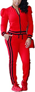 Women's 2 Pieces Long Sleeve+Long Pants Sweat Suit Set Tracksuit with Pockets