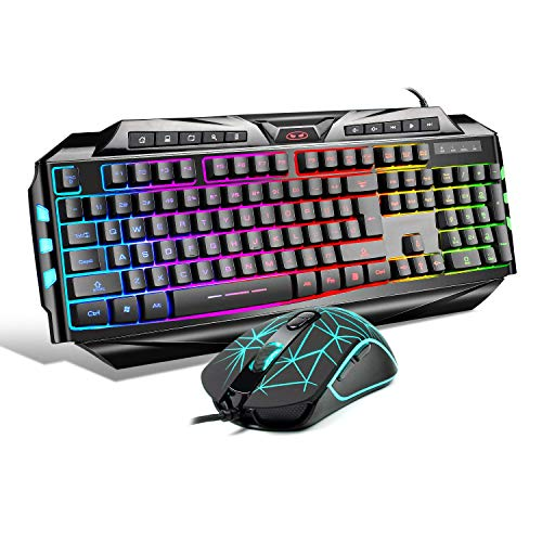Gaming Keyboard and Mouse Combo,MageGee GK710 Wired Backlight Keyboard and Gaming Mouse Combo,PC Keyboard and Adjustable DPI Mouse for PC/Laptop/MAC … (Renewed)