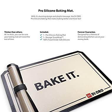 DI ORO - Pro Silicone Baking Mat - Nonstick Silicone Sheets - 480° Heat Resistant - 16 1/2  × 11 5/8  Half Sheet - 1.0mm Thick Pro Grade BPA Free Silicone - A Lifetime of Joyful Cooking - 1-Pack