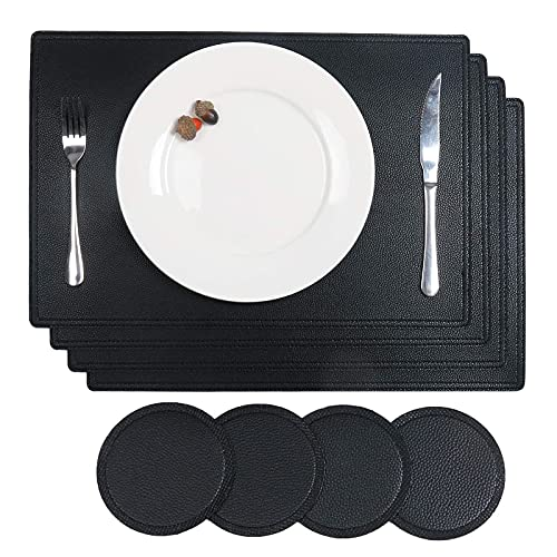 SHACOS Set of 4 Faux Leather Placemats and Coasters PU Leather Table Mats Washable Heat Resistant Black Placemats Waterproof Non Slip for Kitchen, Dining Table