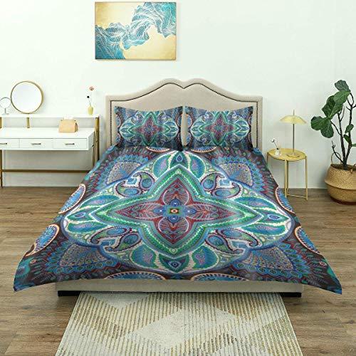 SmallNizi Funda nórdica, patrón geométrico Abstracto Floral Tradicional Mandala de Paisley, Juego de Cama de Lujo cómoda Microfibra Ligera