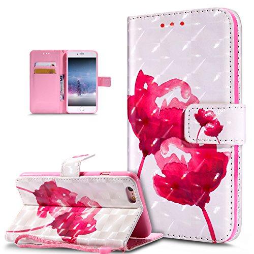 ikasus Coque iPhone 6S Plus/6 Plus Etui Modèle de papillon peint en 3D coloré Housse Cuir PU Housse Etui Coque Portefeuille supporter Flip Case Etui Housse Coque pour iPhone 6S Plus,Lotus rose