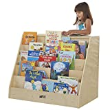 ECR4Kids Birch Book Display Stand with Storage with Rolling Casters, Double-Sided Hardwood Book Shelf Organizer for Kids, 5-Shelves with 2-Shelves, Mobile Display Stand for Classrooms and Home, Natural (ELR-0429)