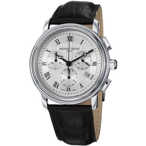 Frederique Constant Herren-Armbanduhr XL Classics Collection Chronograph Quarz Leder, silber/schwarz, FC-292MC4P6