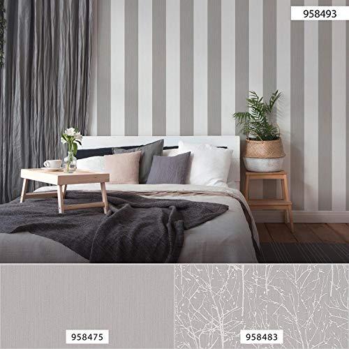 Tapete grau weiß gestreift | Esprit-Tapete Blockstreifen 958493 | Streifentapete für Schlafzimmer 95849-3 | Vliestapeten online kaufen !