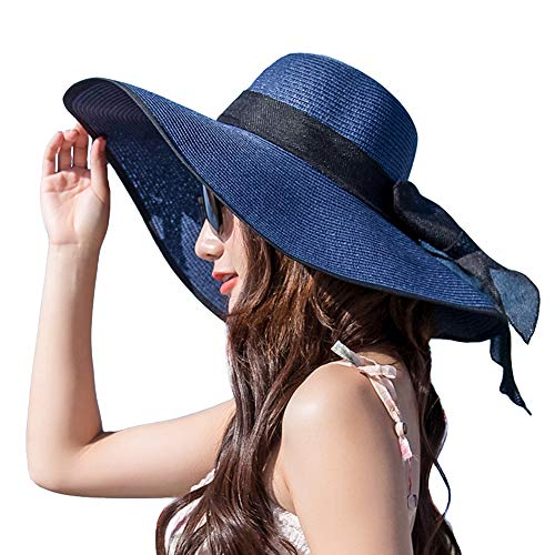 Women's Folable Floppy Hat,Wide Brim Sun Protection Straw Hat, Summer UV Protection Beach Cap (C1-E-Navy Blue)