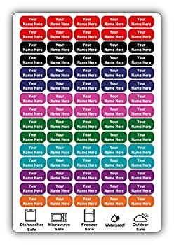 75 Personalized Waterproof Name Labels Press and Stick Multi use Custom Name Labels Customized 2 Lines of Text and Color ID Identification Name Stickers with Permanent Self Adhesive.