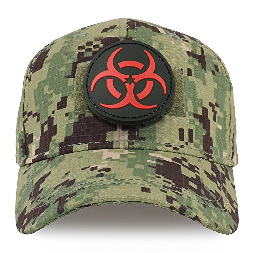 Trendy Apparel Shop Youth Virus Biohazard Circular Rubber Patch Tactical Cap - NWU Camo