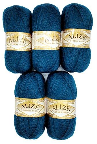 Alize 5 x 100 g Strickwolle mit Mohair, Petrol blau Nr. 17 zum Stricken und Häkeln, 500 Gramm Wolle