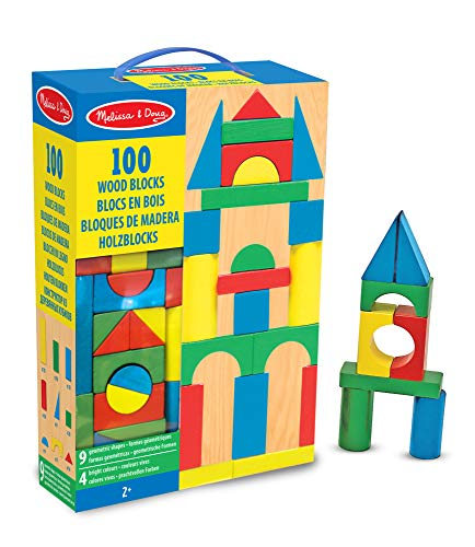 Melissa & Doug Piece Wood Blocks Set Bloques de Madera 100 Piezas, Color...