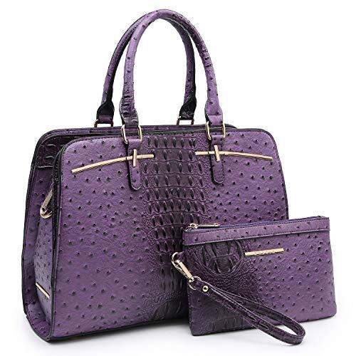 Dasein Women Satchel Handbag Shoulder Purse Top Handle Work Bag Tote Bag With Matching Wallet (Purple Ostrich)