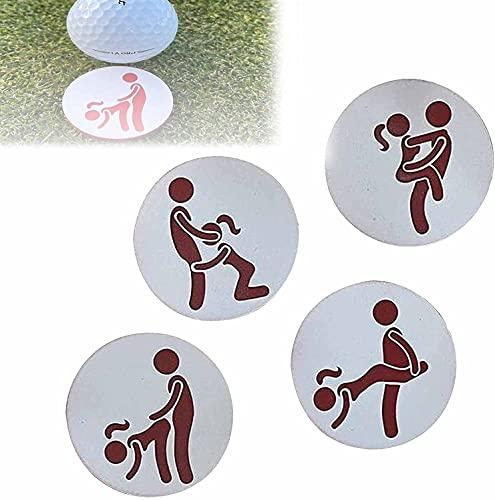 Juego De 4 Marcadores De Pelota De Golf Para Adultos, Posiciones Sexuales Para Que Todos Los Golfistas Disfruten En El Campo, Divertido Regalo De Intercambio De Yankee Para (4 Unidades)