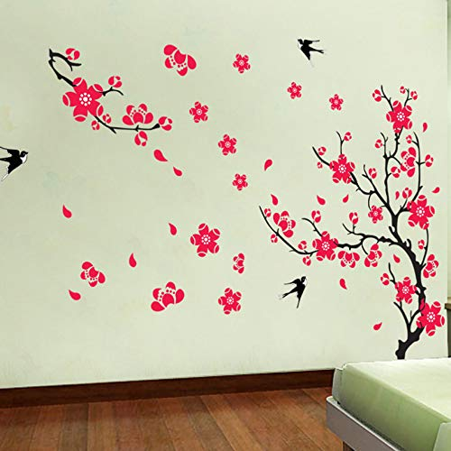 TAOYUE Plum Blossom Swallow Wall Sticker for Living Room Sofa/Tv Background Decoration Decals Mural Art Flower Stickers On The Wall