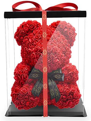 NADIR Blumenbär mit Schleife/inklusive vorverpackter Geschenkbox/in verschiedenen Größen/Valentinstag Muttertag Geburtstag Jahrestag Jubiläen Infinity Rosebear Bär mit Rosen Flower Teddy Teddybär