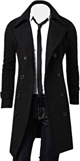 Muranba Clearance Men Slim Trench Coat Double Breasted Long Jacket