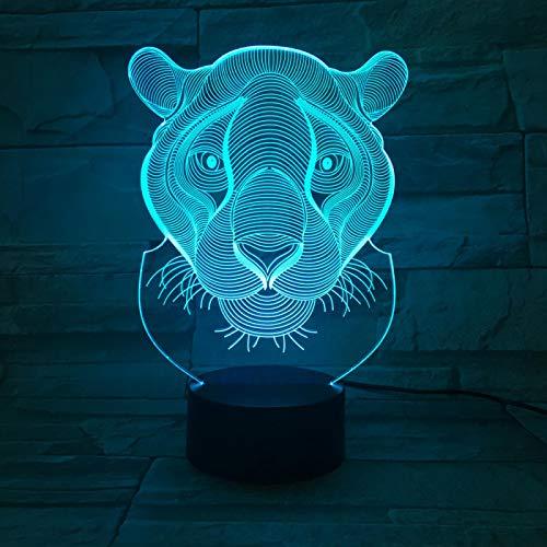 Luces De Ilusión 3D, Regalo De Navidad León Animal 16 Colores Acrílico Led Sensitive Touch Sensor Lámpara Cargador Usb Luz Nocturna Touch Botón Regalo Creativo Casa Decoració
