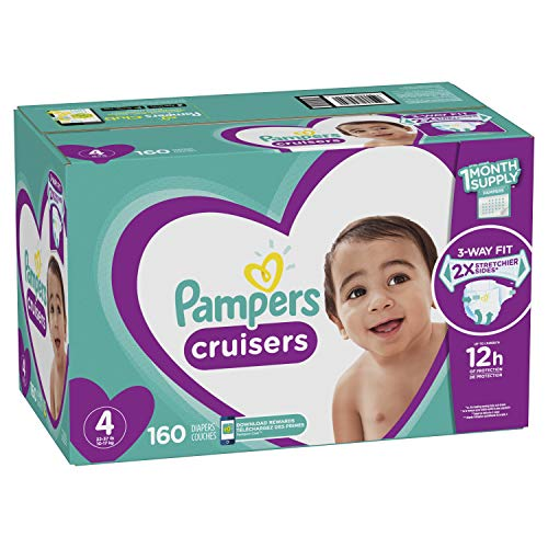 Pampers Cruisers Disposable Baby Diapers Size 4, 160 Count, ONE MONTH SUPPLY