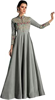 Grey Trivia Silk Designer Fancy Party wear Ladies Gown dress Indian Ethnic Women Long Kurti Kurta 8412