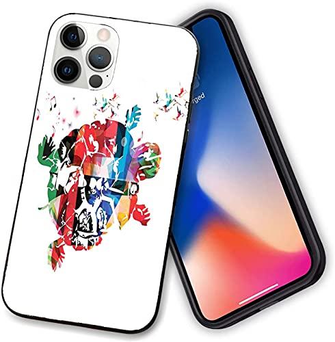 Custodia compatibile con iPhone 12 serie, tartaruga astratta con colibrì e note musicali, fantastica cover digitale flessibile per iPhone 12 pro-6.1 pollici