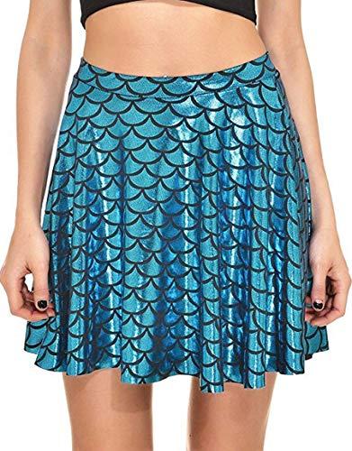 Alaroo Girls Fish Scale Mermaid Print Ruffle Flare Mini Skirt Peacock XXL