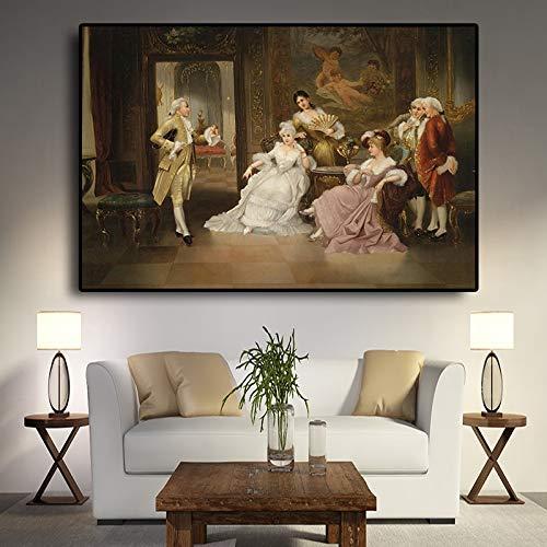 sanzangtang Vintage Europese Partij Paleis Portret Olieverfschilderij Poster en het printen Canvas Pop Art Scandinavische muur Woonkamer Beeld Frameless