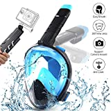 OCUBE Full Face Snorkel Mask, Foldable Easy Breath Diving Snorkeling Mask with 180°
