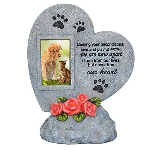 PETAFLOP Gedenksteine Gedenktafel für Haustiere im Formen Herz mit Bilderrahmen Hochformat und Trauerspruch