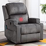 ANJ Power Lift Chair Electric Recliner Chairs for Elderly Heavy Duty Reclining Chair with Heat & Vibration, Fabric Massage Recliners with 2 Cup Holders, USB Port (Grey)