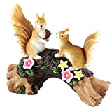 OneCut Garden Statues Squirrel and Flowers Resin Garden Art Sculpture for Patio,Yard,Lawn Porch,Outdoor Decorations Ornament Figurines with Solar LED Lights, Housewarming Garden Gift