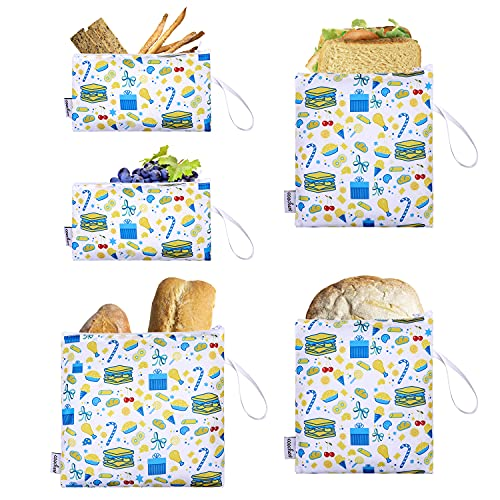 Reusable Sandwich Bags Snack Bags, Set of 5 Pack Zipper Snack Bags for Kids Back to School,...