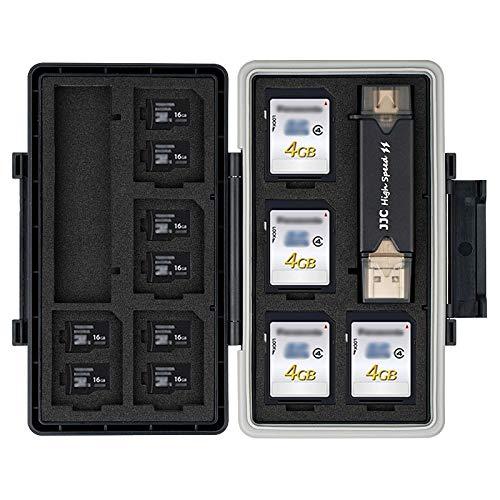 JJC Wasserdicht Speicherkarten Etui mit USB 3.0 Kartenlesegerät Aufbewahrung für 16 Micro SD SDXC SDHC + 8 SD SDXC SDHC, SD Karten Schutzbox Tragetasche - Memory Card Case Box