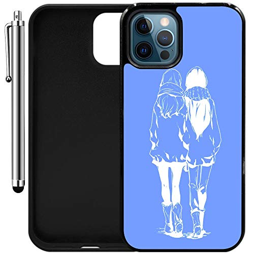 """Custom Case Compatible with iPhone 12 Pro Max (6.68"""") (Anime Best Friends) Edge-to-Edge Rubber Black Cover Ultra Slim 