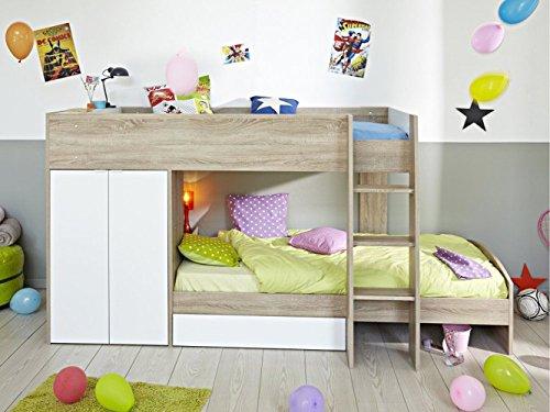 ZEARO Betthochbett etagenbett bett 2 x 90x200 cm kinderzimmer jugendzimmer eiche weiss neu Kinderbett Jugendbett Jugendliege Bettliege