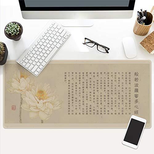 Muismat, Chinees poëzieisch lotusblad, oversized, waterdicht, gevoerd, muismat, voor meubels, kantoor, studenten, tafelkleed, cadeau 40x90cm
