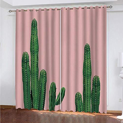 KAOLWY Cortinas De Ducha,280x250cm Cactus Verde,Moderno Ventana Salon Paneles con Ojales para Sala Cuarto Comedor Salon Cocina Habitación