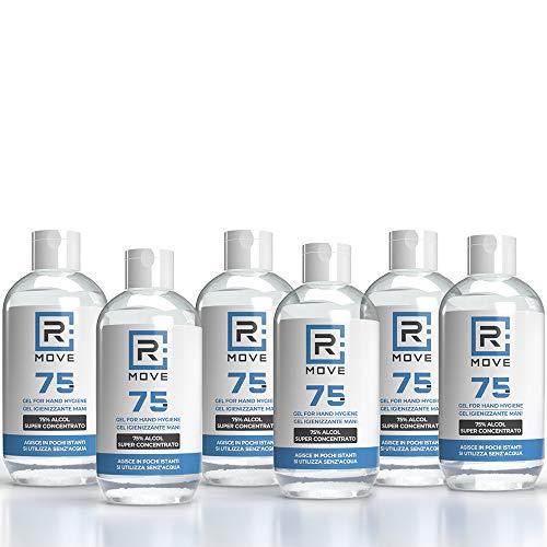 6 flaconi da 250ml gel igienizzante 75% Gel mani profumato con GLICERINA che aiuta a idratare la pelle, super-concentrato, gel mani senza risciacquo (6 flaconi da 250ml)