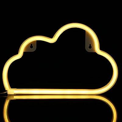 KNMY LED Neon Light, Wolke Wanddekoration Lamp Batterie und USB Betriebene Warmweiß Neon Light Zuhause, Kinderzimmer, Bar, LED Neonschild Light Party, Hochzeit, Weihnachten, Halloween, Valentinstag