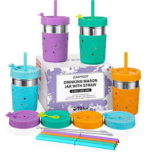 Kids & Toddler Cups with Straw - 4 Pack Spill Proof 10 OZ Mason Jars/Stainless Steel Tumbler with Sleeve +8 Leak Proof Lid +8 Silicone Straw with Stopper, BPA FREE Baby Smoothie Cup Sippy Drinking Cup